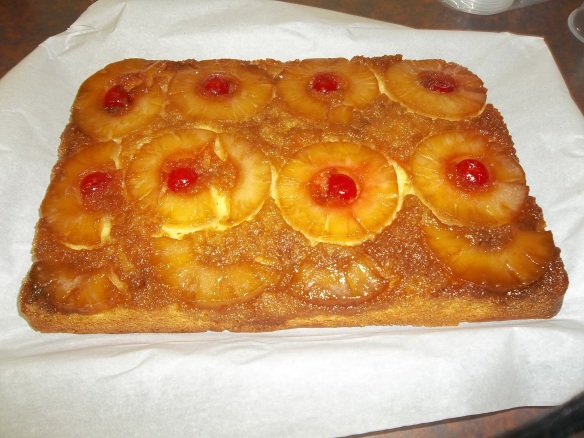 We made yummy pineapple upside down cake!!!  Boy oh boy!!