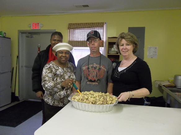Dont stand there to long,  it will be all gone.  He is Alice, David and Maryann.  Every month we cook for the RTCOM soup kitchen.