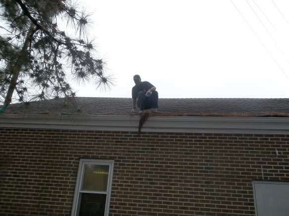 Thank you Mr. Evans, but don't jump! (Thank you John Evans & Luke Lockwood for cleaning our gutters!).