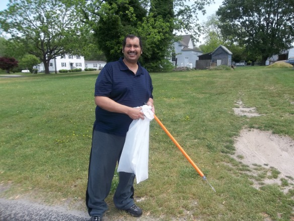 A man's work is never done.    Weather has been so nice we went for a walk and picked up trash along the road way.