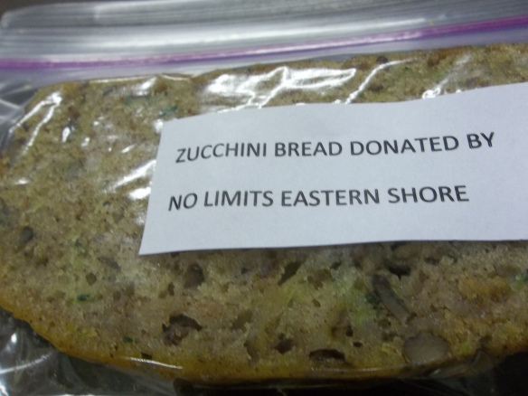 "Zucchini bread all ready to go to the ""Dash of Hope"" dinner!  ""Hope they enjoy it because i know we did!""  Zel"