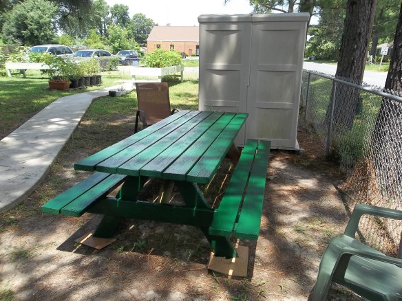 """Thank you Gayle and David Shaw for donated this nice picnic table!  ""Look we have it some color!!""- Amy"