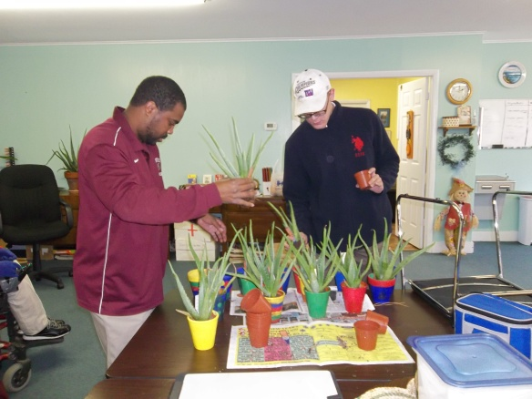Steve and Brandon getting our aloes ready for the Kiwanis Craft Fair this month. Thanks again to Wal-Mart for donating plants to us!