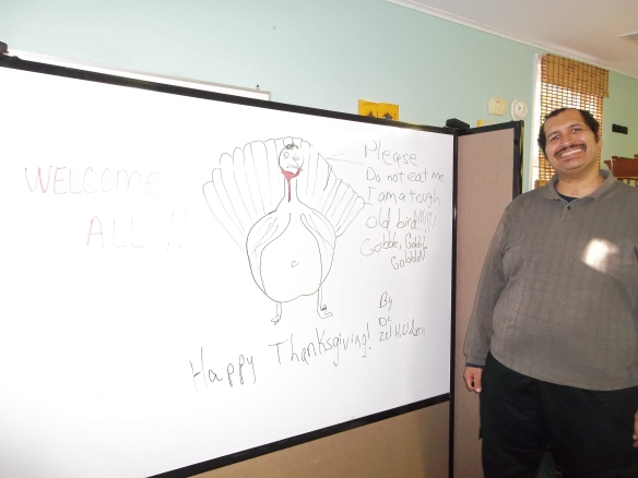 Zel drew a picture of Steve.  Ooopps, that's a turkey!!