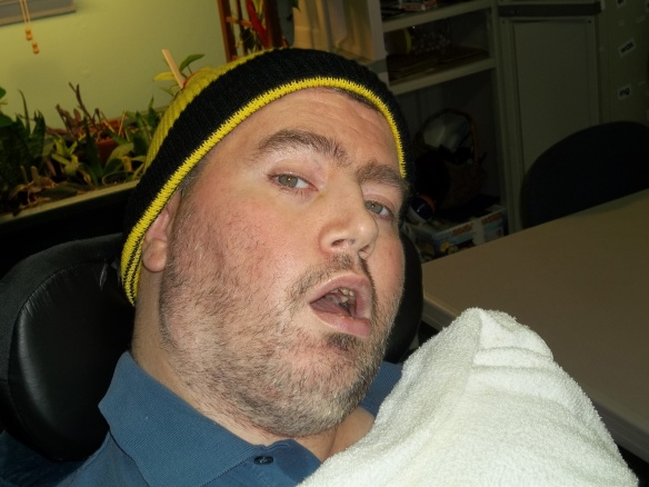 Jason is wearing a Pennzoil hat donated by Matt, and he's happy. Lookin' good Jason!!