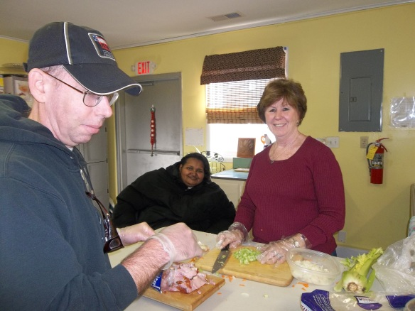 David, Maryann & Amy making navy bean soup for the RTCOM Soup Kitchen. Soup up my boy soup up!!