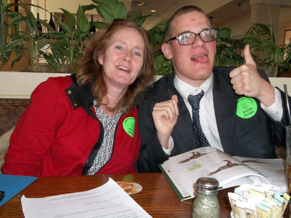 Rachel and Brandon out for lunch.  Brandon's giving a big thumbs up!