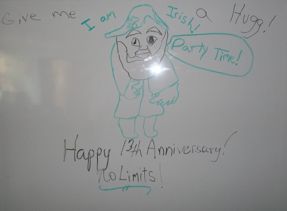This week at No Limit's we celebrated our 13th anniversary!  Our party was St. Patrick's day themed and we even wrote a limerick: We were waiting for Elton Trower, We even brought him a flower. He was so late, The food that we ate... We hope he doesn't get sour! (Or lose his power!)