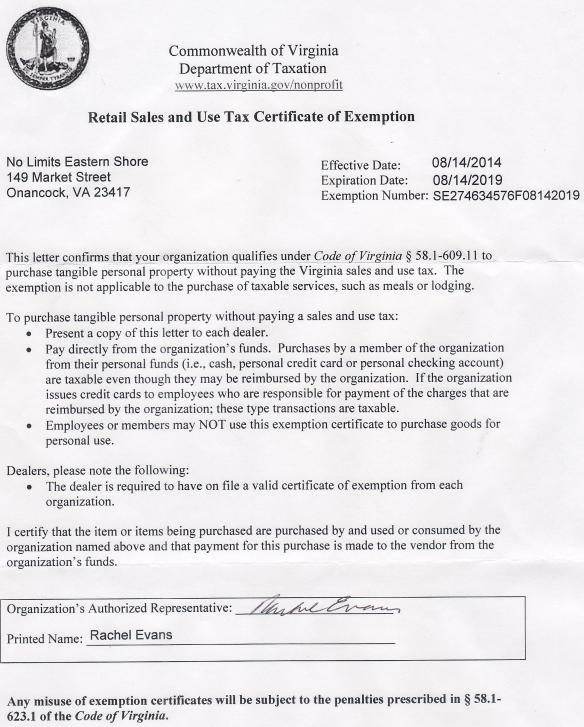 VA Tax Exempt Status