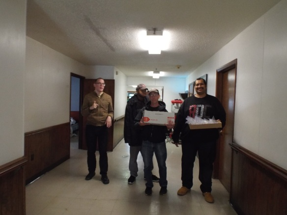 Brandon, DJ, David, and Zel  delivering the cookies with Rachel and Adrian to the residents of G.F. Horne Assisted Living Community. We also gave out the mini soaps & shampoos we collect for them, they were so appreciative!!