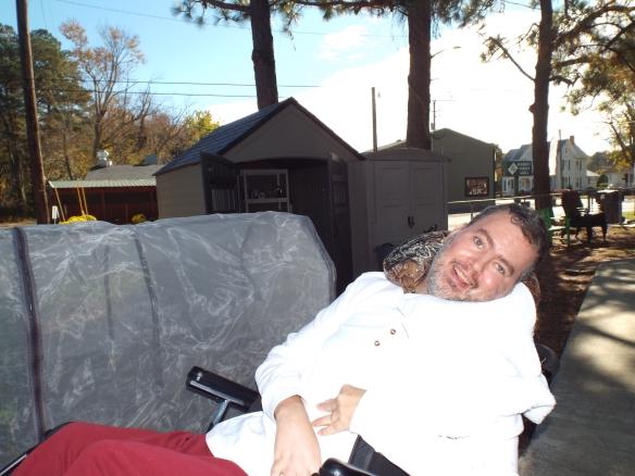 Jason enjoying some fall sunshine!  Smile on Jason!