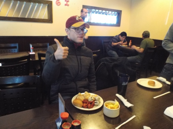 Brandon gives the Chinese buffet a big thumbs up!
