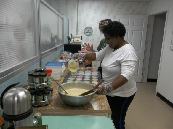 This month our Outreach Cooking team made banana bread muffins for the residents of the GF Horne Assisted Living Community in Onancock. Here is Eva pouring batter!